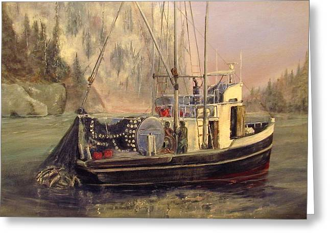 Recently Sold -  - Salmon Paintings Greeting Cards - Seiner Full Purse Greeting Card by Wayne Enslow