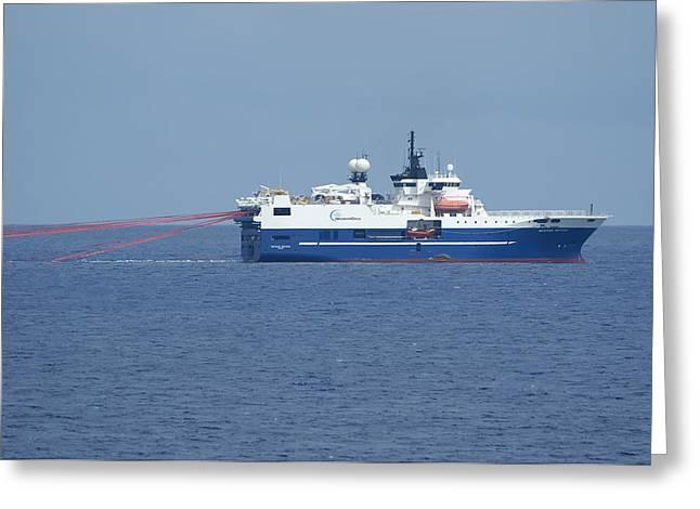 Surveying Greeting Cards - Seismic testing Ship Greeting Card by Bradford Martin