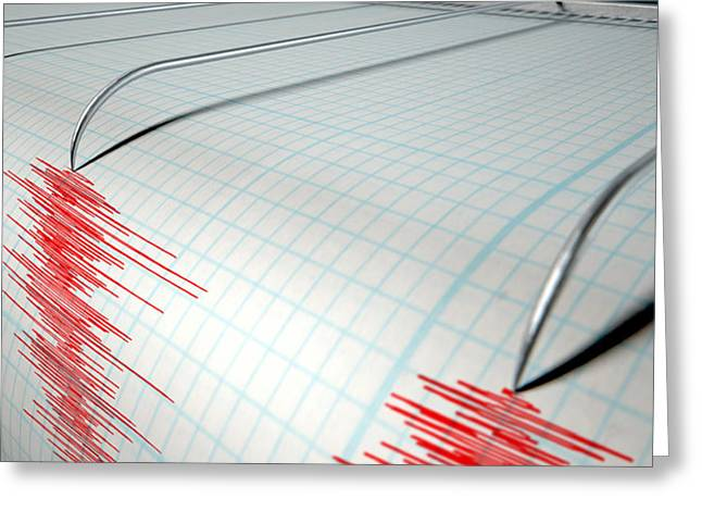 Earthquake Greeting Cards - Seismograph Earthquake Activity Greeting Card by Allan Swart