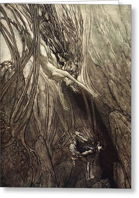 Tricks Greeting Cards - Seize The Despoiler! Rescue The Gold! Greeting Card by Arthur Rackham