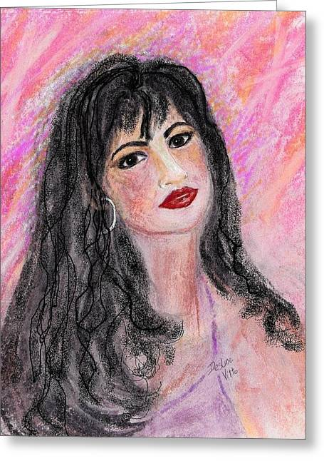 Red Lips Pastels Greeting Cards - Selena Greeting Card by Desline Vitto