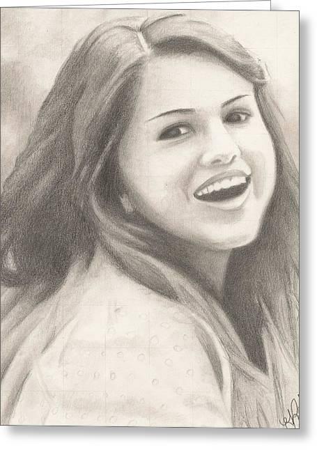 Tomboy Drawings Greeting Cards - Selena Gomez Greeting Card by Kendra Tharaldsen-Franklin