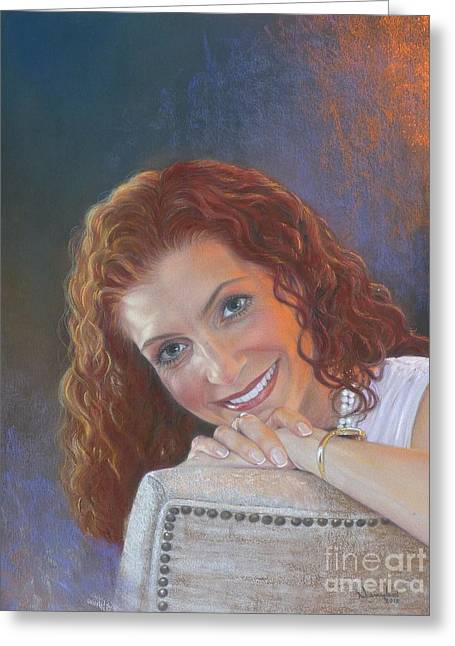 Self Portrait Pastels Greeting Cards - Self Acceptance Greeting Card by Nanybel Salazar