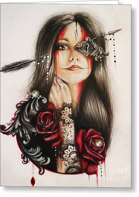 Face Tattoo Mixed Media Greeting Cards - Self Affliction Greeting Card by Sheena Pike