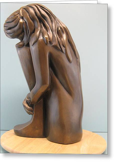 Young Woman Sculptures Greeting Cards - Self comfort Greeting Card by Nili Tochner
