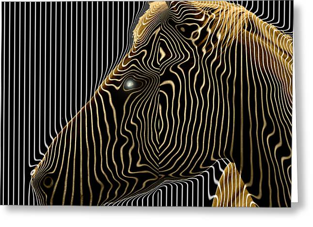 Display Contemporary Art Office Digital Art Greeting Cards - Self-conscious attempt to become zebras.  2013  80/80 cm.  Greeting Card by Tautvydas Davainis