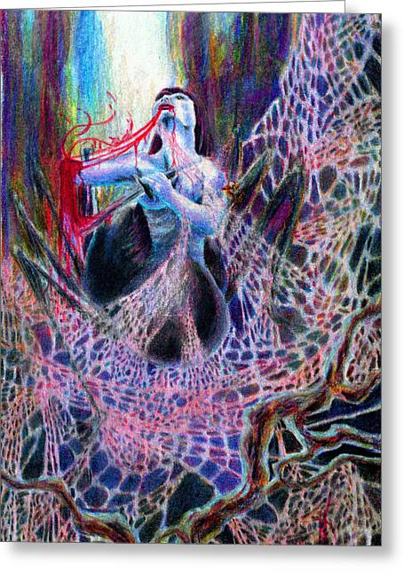 Consume Drawings Greeting Cards - Self Consumed Greeting Card by Kd Neeley