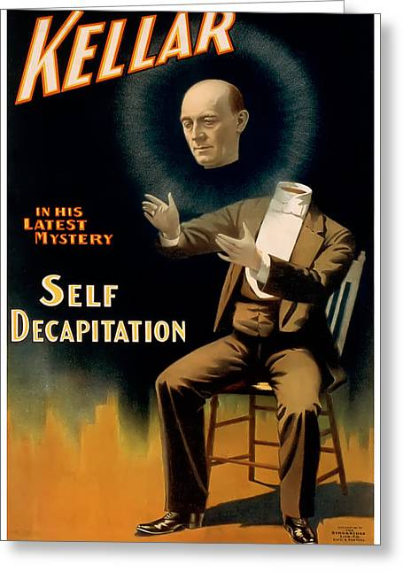 Stage Greeting Cards - Self Decapitation Greeting Card by Terry Reynoldson