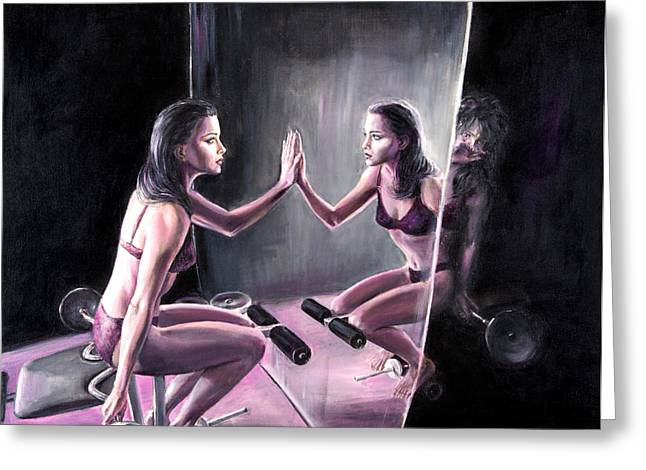 Disorder Paintings Greeting Cards - Self Loathing Greeting Card by Evelyn Astegno