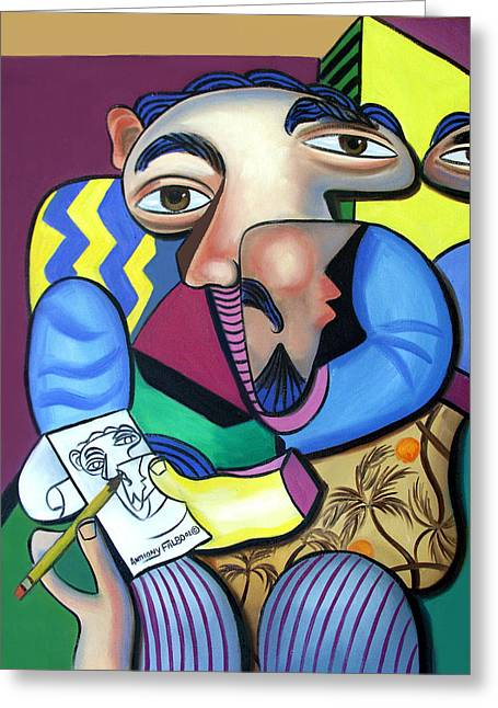 Self-portrait Greeting Cards - Self Portrait 101 Greeting Card by Anthony Falbo