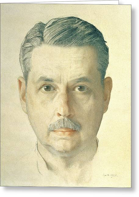 ist Photographs Greeting Cards - Self Portrait, 1921 Pencil On Paper Greeting Card by Konstantin Andreevic Somov