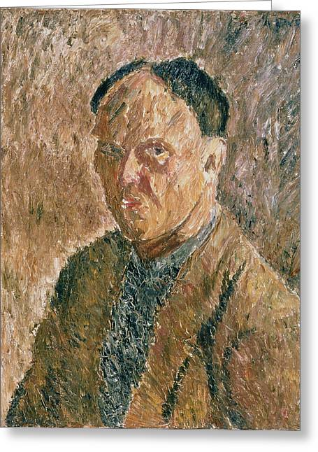 Artist Photographs Greeting Cards - Self Portrait, 1923 Oil On Canvas Greeting Card by Aleksandr Davidovic Drevin