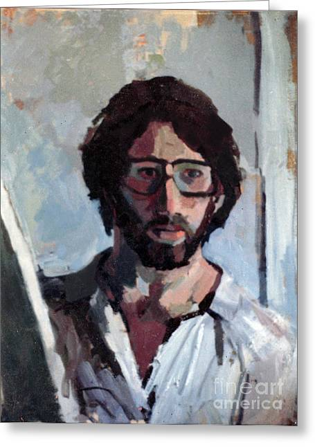 Self-knowledge Greeting Cards - Self Portrait 1982 Greeting Card by David Baruch Wolk