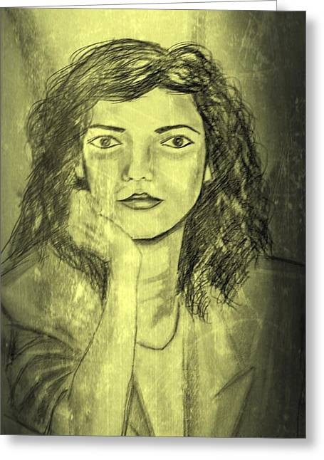 Self-portrait Greeting Cards - Self Portrait 2 Greeting Card by Dimitra Papageorgiou