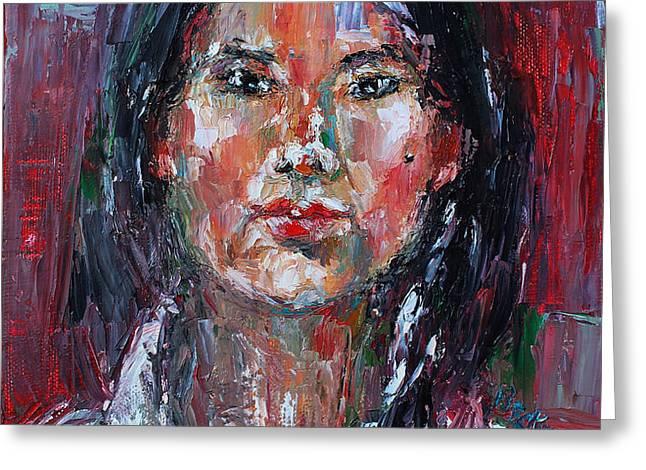 Self Portrait 2013 -2 Greeting Card by Becky Kim