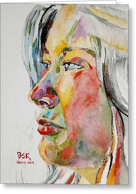 Becky Kim Paintings Greeting Cards - Self Portrait 4 Greeting Card by Becky Kim