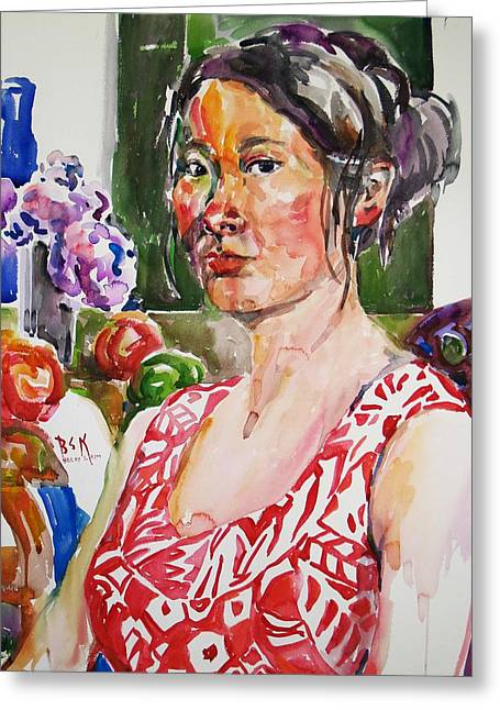 Becky Kim Greeting Cards - Self Portrait 9 - with still life Greeting Card by Becky Kim