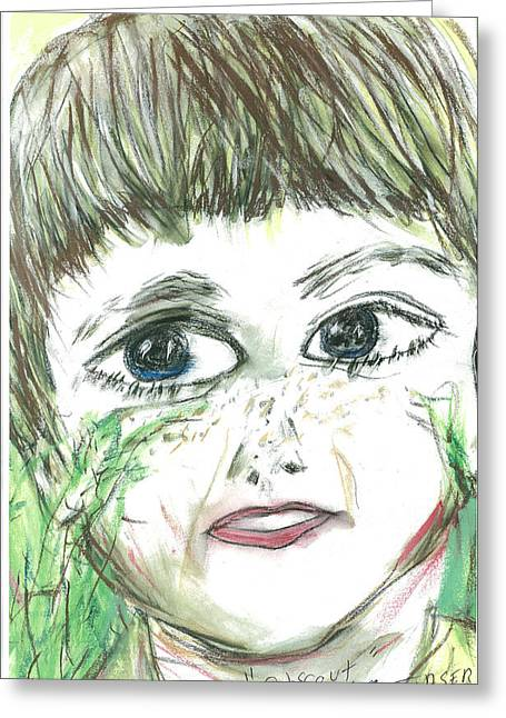 Self Portrait Pastels Greeting Cards - Self Portrait as cub scout Greeting Card by Mark Flanagan