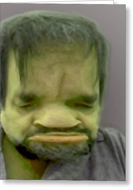 Self-portrait Greeting Cards - Self Portrait as Frankenstein Greeting Card by Del Gaizo