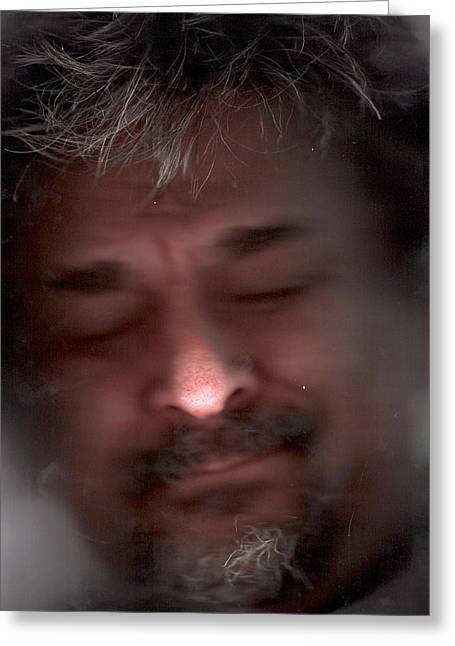 Caves Greeting Cards - Self Portrait Asleep Under the Ice Greeting Card by Del Gaizo