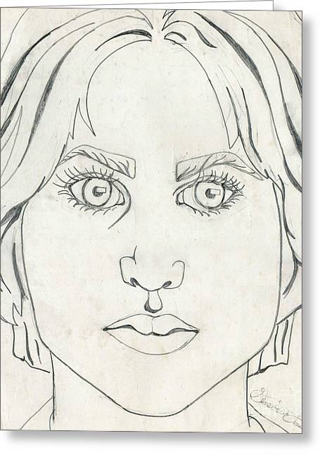 Eyelash Greeting Cards - Self-Portrait at Seventeen Greeting Card by Genevieve Esson