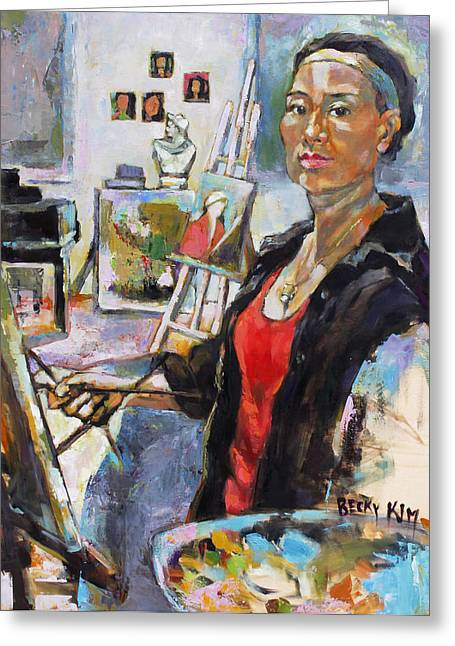 Becky Kim Paintings Greeting Cards - Self Portrait August 2013 Greeting Card by Becky Kim