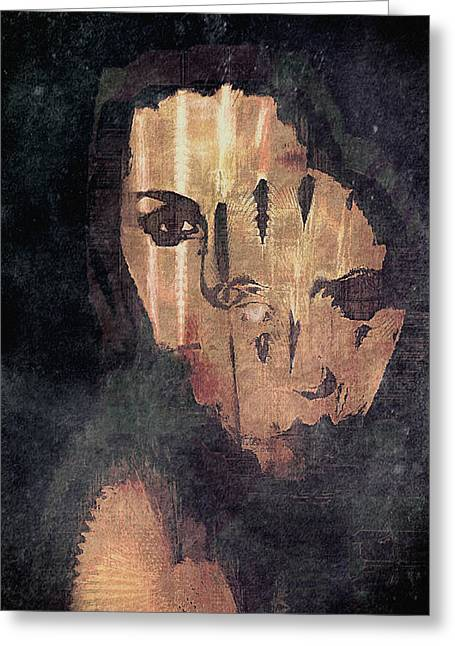 Cover The Face Greeting Cards - Self Portrait-Behind the Mask Greeting Card by Barbara D Richards