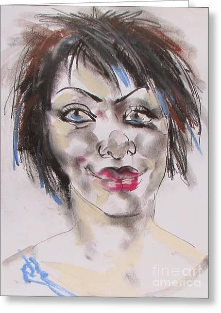 Self-portrait Pastels Greeting Cards - Self-portrait Greeting Card by Bozena Simeth