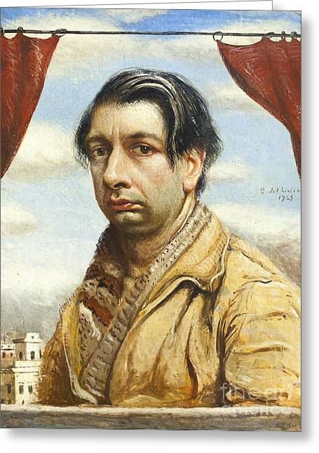 Chirico Greeting Cards - Self portrait by Giorgio de Chirico Greeting Card by Roberto Morgenthaler