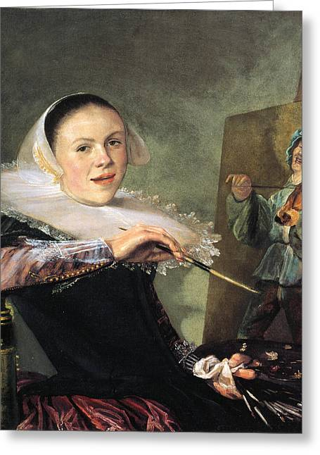Self-portrait Greeting Cards - Self-portrait by Judith Leyster Greeting Card by Celestial Images