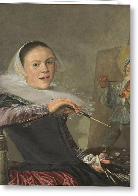 Lace Collar Greeting Cards - Self-portrait, C. 1630 Greeting Card by Judith Leyster