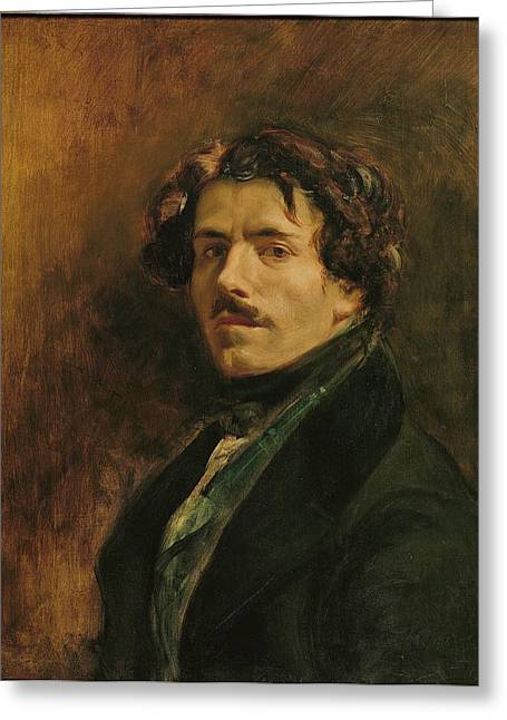 Bravado Greeting Cards - Self Portrait, C.1837 Oil On Canvas Greeting Card by Ferdinand Victor Eugene Delacroix
