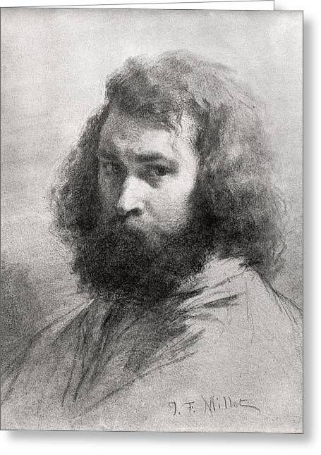 ist Photographs Greeting Cards - Self Portrait, C.1845-46 Charcoal And Pencil On Paper Bw Photo Greeting Card by Jean-Francois Millet