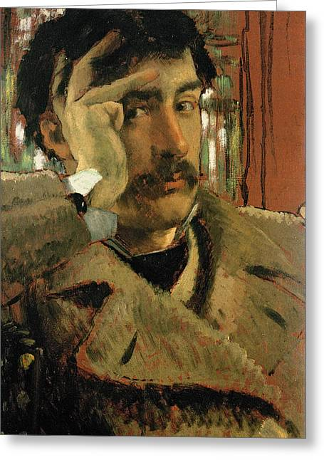 Pensive Greeting Cards - Self Portrait, C.1865 Panel Greeting Card by James Jacques Joseph Tissot