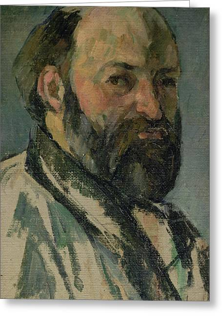 Artist Photographs Greeting Cards - Self Portrait, C.1877-80 Oil On Canvas Greeting Card by Paul Cezanne
