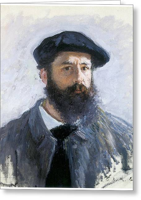 Self-portrait Greeting Cards - Self-Portrait Greeting Card by Claude Monet