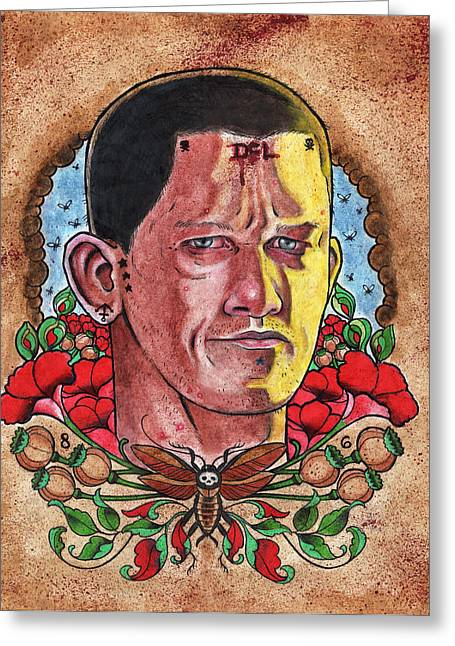 Prison Paintings Greeting Cards - Self Portrait Greeting Card by David Shumate