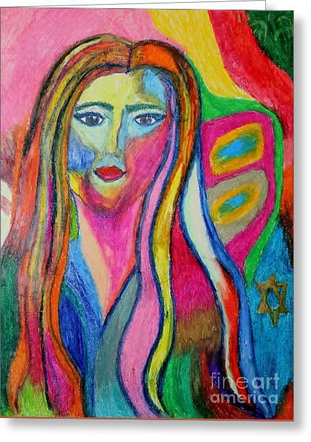 Self-portrait Pastels Greeting Cards - Self-Portrait Greeting Card by Debbie Davidsohn