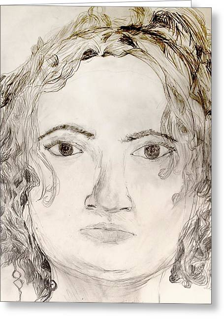 Best Sellers -  - Eyebrow Greeting Cards - Self-portrait drawing Greeting Card by Erin Masterson
