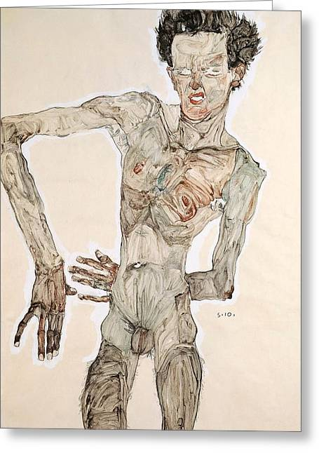 Elbows Greeting Cards - Self-Portrait Greeting Card by Egon Schiele