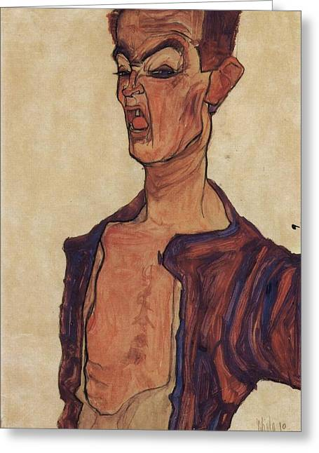 Distortion Paintings Greeting Cards - Self Portrait Greeting Card by Celestial Images
