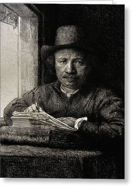 17th Greeting Cards - Self-portrait Etching At A Window, 1648, By Rembrandt 1606-1669 Greeting Card by Bridgeman Images