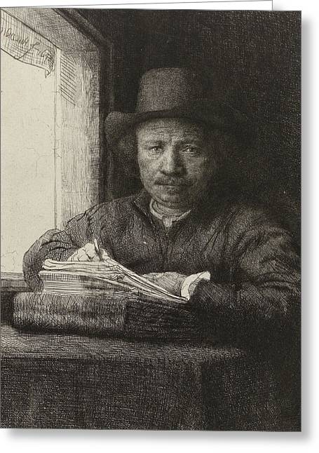 Prints For Sale Art Greeting Cards - Self-portrait etching at a window Greeting Card by Rembrandt