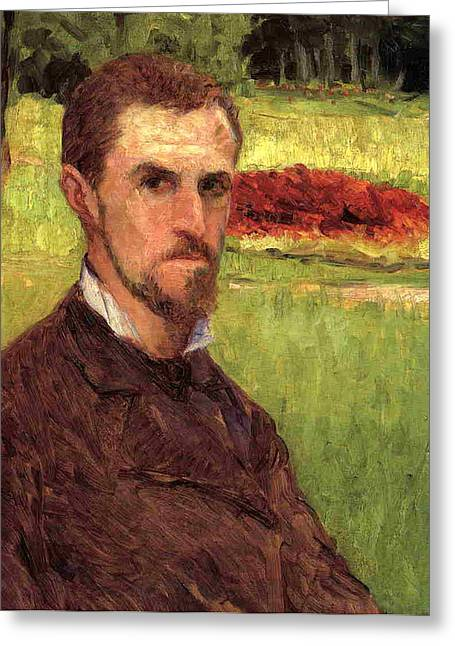 Self-portrait Greeting Cards - Self Portrait Greeting Card by Gustave Caillebotte