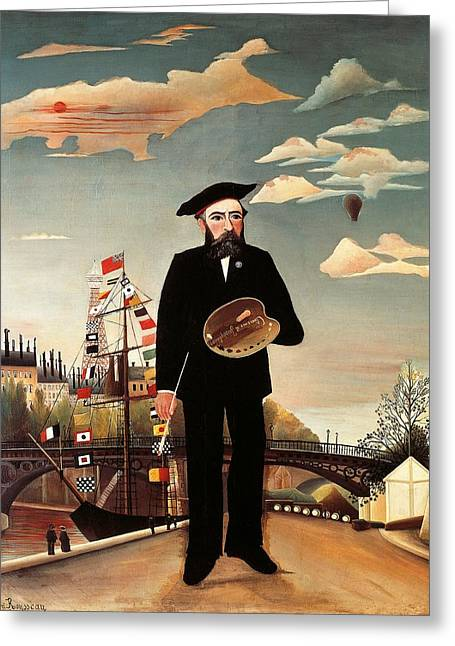 Naive Art Greeting Cards - Self portrait Greeting Card by Henri Rousseau