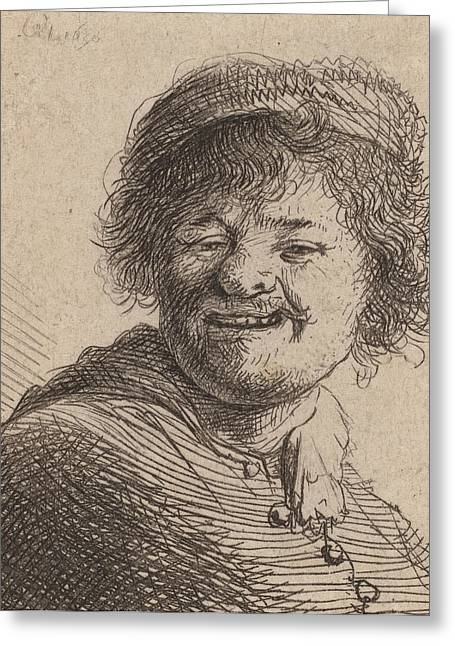 Dutch Masters Greeting Cards - Self portrait in a Cap Laughing Greeting Card by Rembrandt