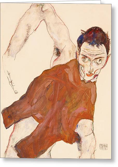 Elbows Greeting Cards - Self portrait in a jerkin with right elbow raised Greeting Card by Egon Schiele