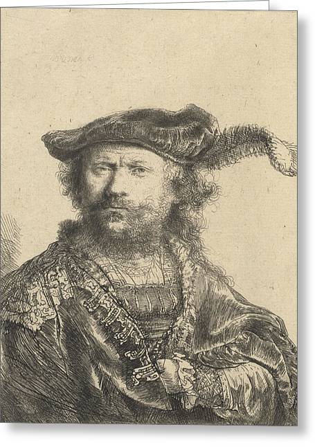 Pen And Paper Drawings Greeting Cards - Self Portrait in a Velvet Cap with Plume Greeting Card by Rembrandt