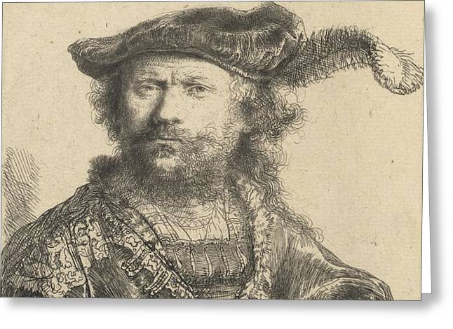 Self Portrait in a Velvet Cap with Plume Greeting Card by Rembrandt