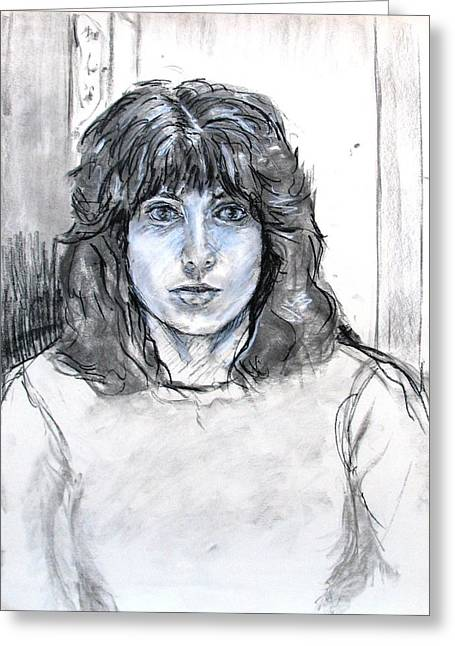Self Portrait Pastels Greeting Cards - Self Portrait in Charcoal and Chalk Greeting Card by Anita Dale Livaditis